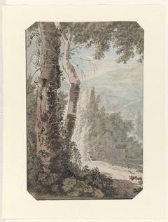 Arcadisch landschap met een rustende man bij het water