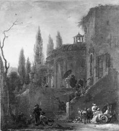 Architecture. Pilgrims Receiving Alms
