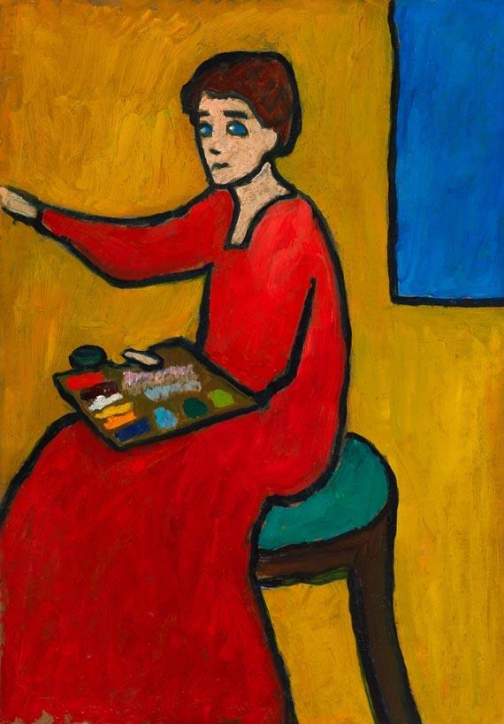Beim Malen (wohl Marianne von Werefkin)