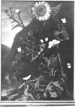 Blumenstillleben mit Sonnenblume, Schmetterlingen, Eidechse und Nymphen (?)