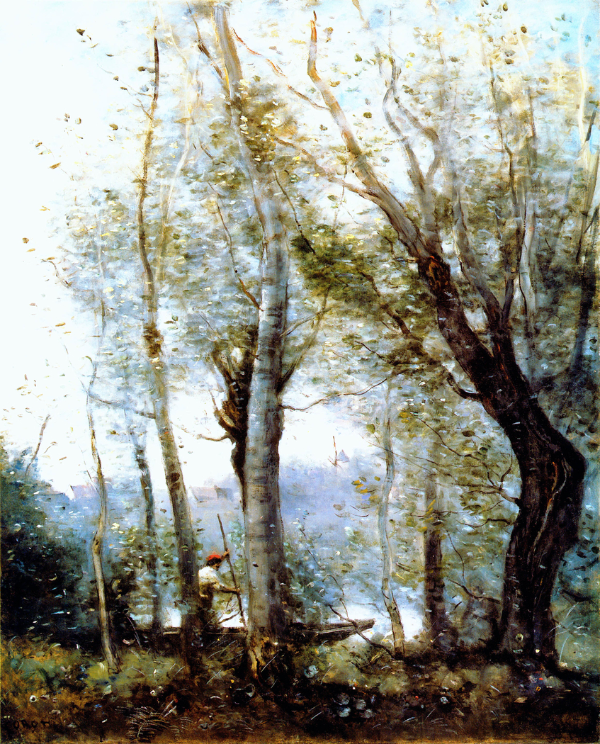 Boatman from Behind the Trees On the Shore