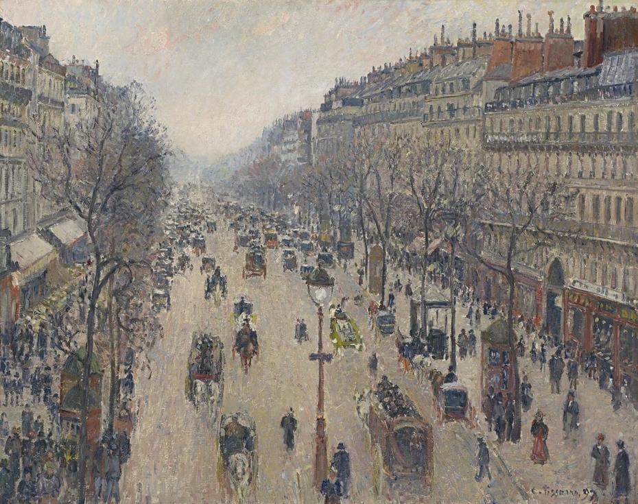 Boulevard Montmartre, morning, cloudy weather - Boulevard Montmartre, matin, temps gris