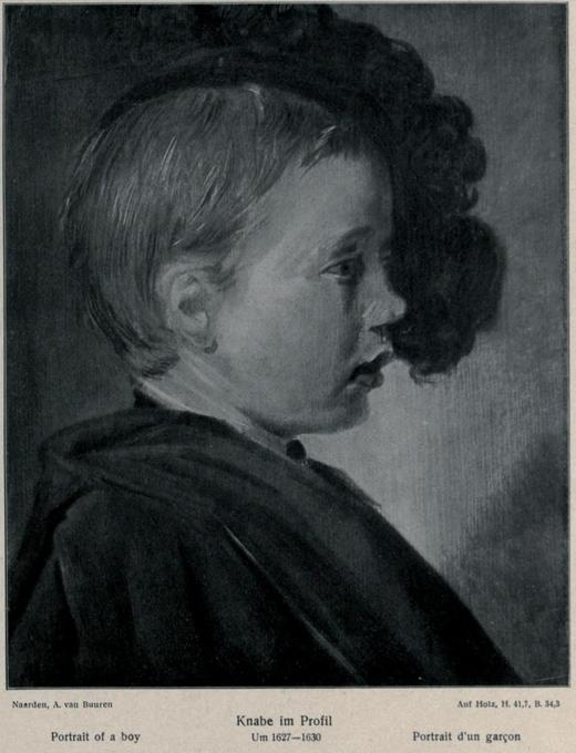 Boy in profile wearing a feathered beret