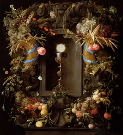Chalice and Host in a Niche, within a Cartouche of Roses and Fruit