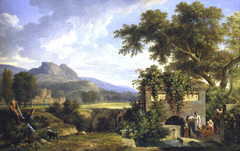 Classical Landscape with Figures Drinking by a Fountain