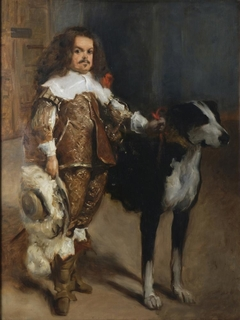 """Copy after the so-called Don Antonio, """"El Inglés"""" (Dwarf with a Dog) thought to be by Velázquez"""