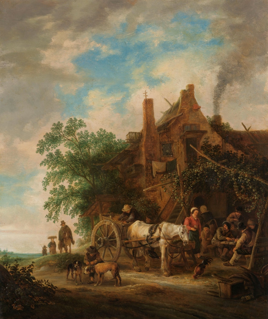 Country inn with horse and wagon