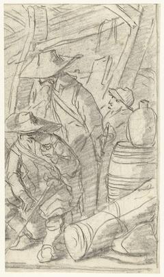 Drie mannen in een legerkamp