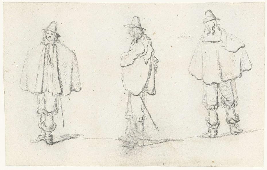 Drie studies van een man met een cape