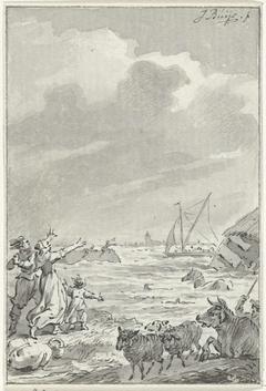 Een overstroming in de omgeving van Amsterdam (of Zaandam), 15 november 1775