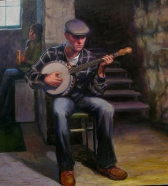 """El Musico: Banjo Player"" by Lydia Martin© oil on Belgian linen/ Lotería series (22""x20"")"