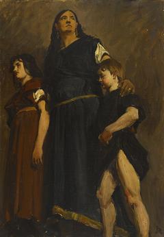 Esquisse de détail pour le Panthéon : Femme mérovingienne et deux enfants