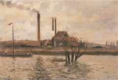 Factory at Sr Ouen-l'Aumône, the Flood of the Oise