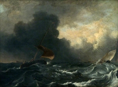 Fishing Boats off the Coast in a Gale