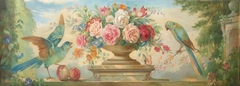 Floral Still Life in an Urn with Parrots, Peaches, Stone Vessel with Roses, in  a Garden Setting