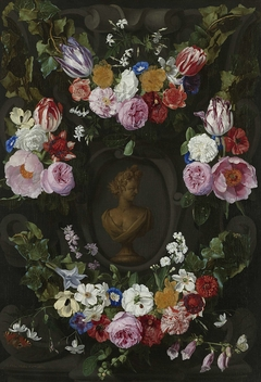 Garland of Flowers surrounding a Bust of Flora