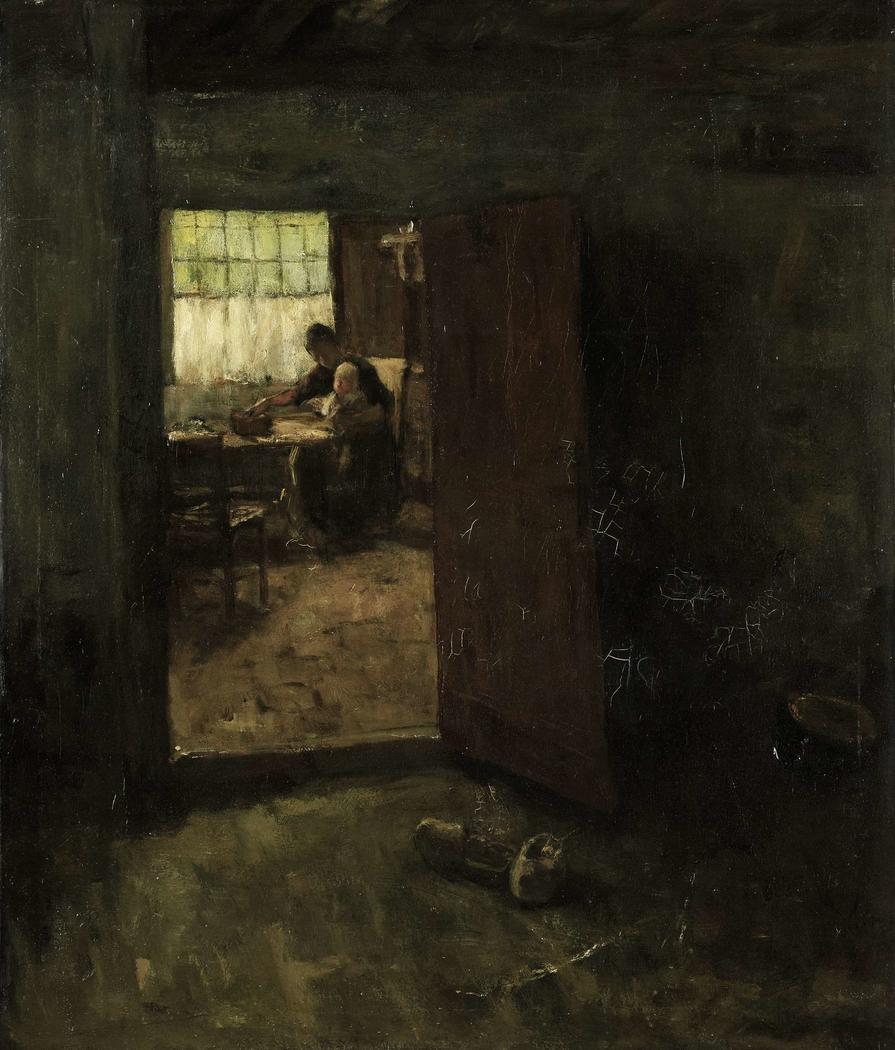 Gezicht in een binnenhuis met boerin en kind