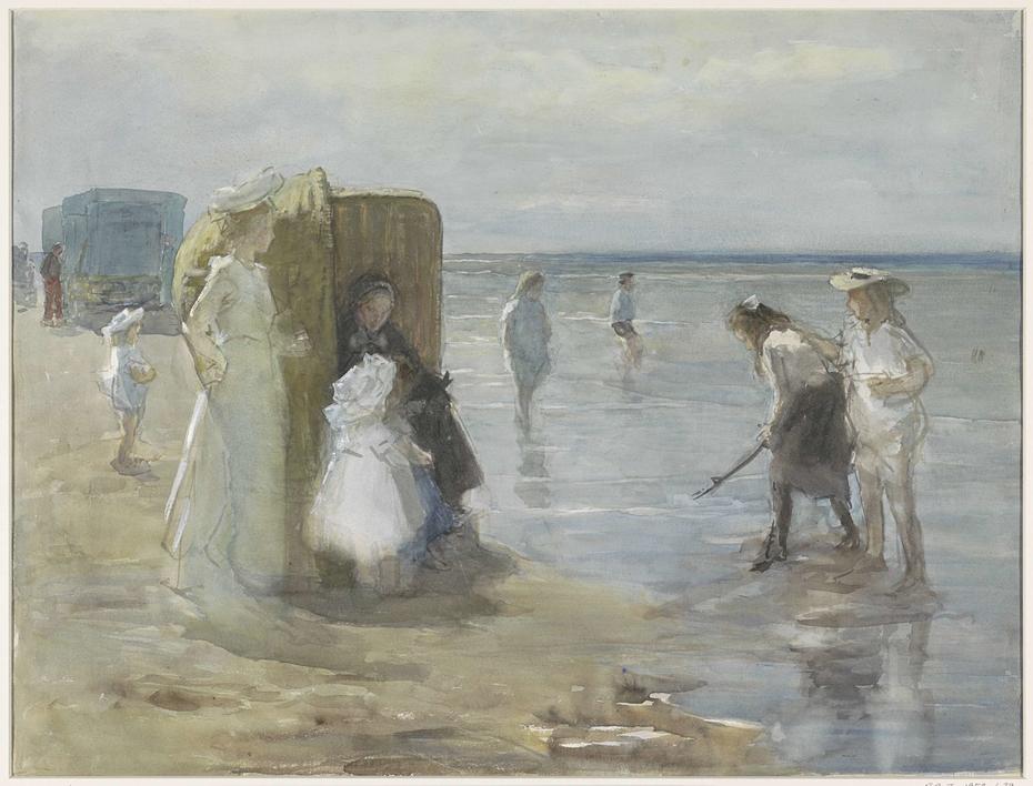 Gezicht langs de vloedlijn aan het Scheveningse strand, met twee dames en kinderen