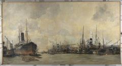 Gezicht op de Ertshaven en de Levantkade naar het westen, met schepen van de Koninklijke Nederlandsche Stoomboot Maatschappij
