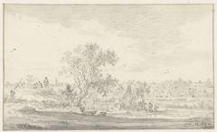 Gezicht van een dijk over landschap met boerenwoningen