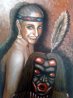 Girl with a Dzonokwa mask