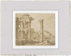 Het Forum van Nerva in Rome, gezien vanf de tempel van Minerva