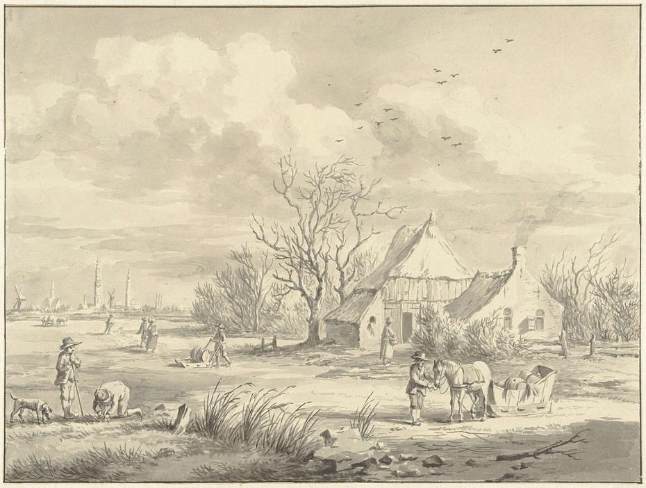 Het Porenhuis met in de verte de stad Groningen