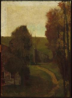 Hill-side with House. Paradise Farm, Afternoon Sky, Autumn