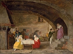 Interior of an Inn with elegant figures eating and artisans playing cards in the background