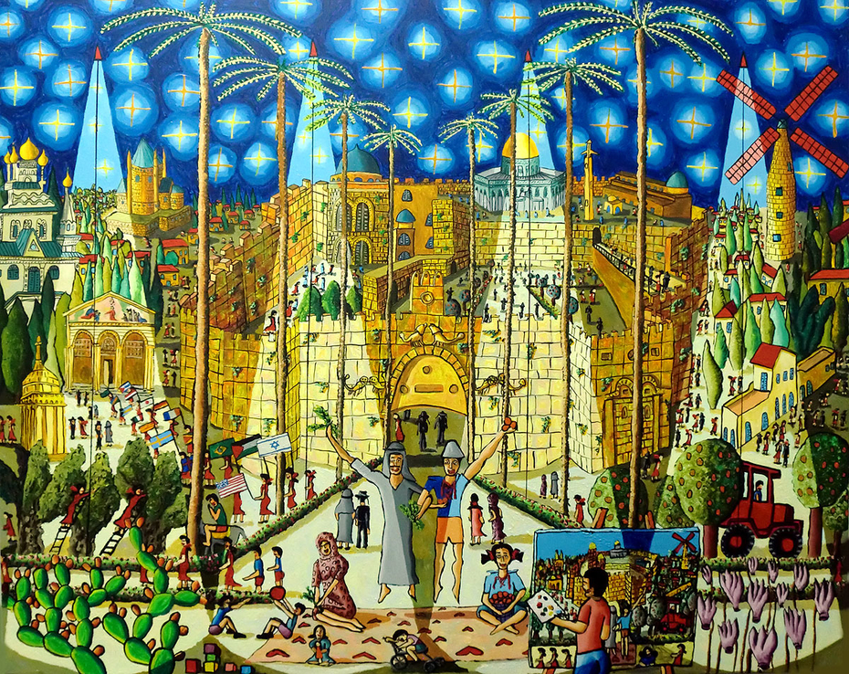 jerusalem naive paintings urban landscape painting raphael perez israeli painter cityscape artworks