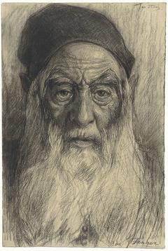 Kop van een oude man met baard, te Tanger