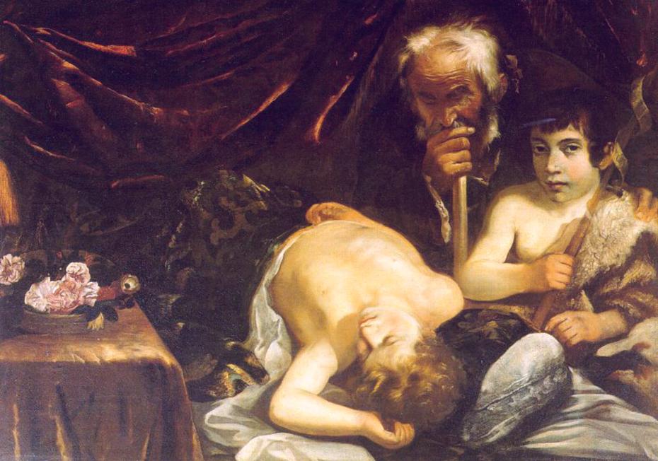 L'Enfant Jésus endormi, Saint Jean-Baptiste et Zacharie