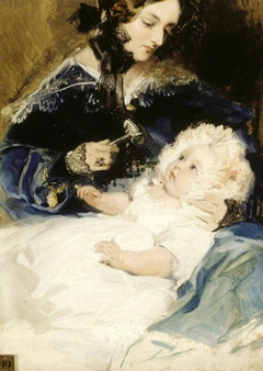 Lady Louisa Jane Russell, Duchess of Abercorn (1812-1905) with her Daughter Lady Harriet Georgiana Louisa Hamilton, later Countess of Lichfield (1834-1913)