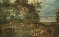 Landscape with Figures on a Road through a Wood