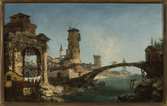 Landscape with ruins and a bridge
