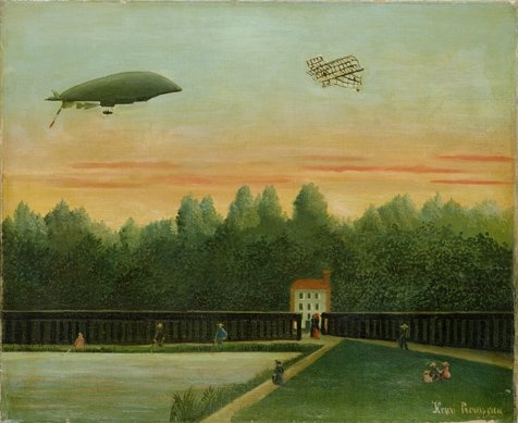 Landscape with the Dirigible Republique and a Wright Airplane