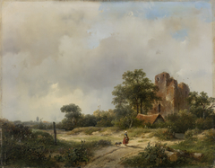 Landscape with the ruins of Castle Brederode in Santpoort