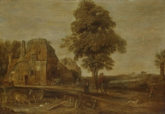 Landscape with watering place
