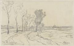 Landschap met laan, met aan weerzijde bomen te Meern