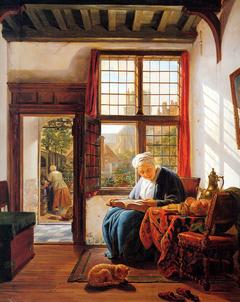 Lezende vrouw aan het venster