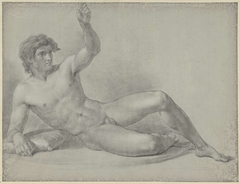Liggend mannelijk naakt, half opzittend geleund op de rechterarm