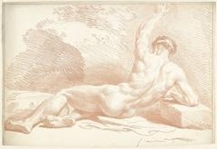 Mannelijk naakt, liggend, op de rug gezien