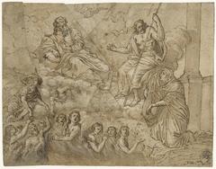 Maria als voorspraak voor zielen in het vagevuur, bij de heilige Drieëenheid