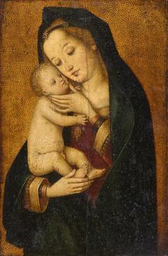 Maria, das Kind liebkosend