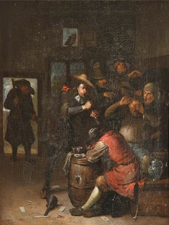 Men Carousing and a Man playing a Flute