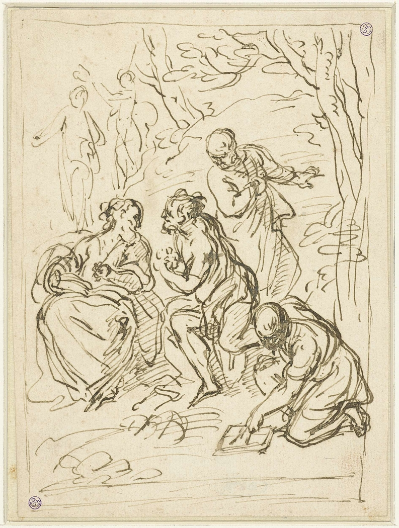 Mythologische of allegorische voorstelling met zes figuren
