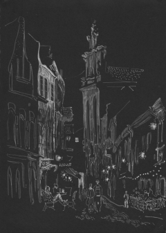 Night on Pilies street, Vilnius.
