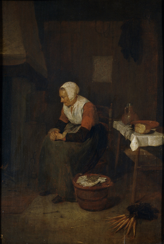Old Woman by a Fireplace