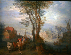 Peasants on a Wagon near a River flowing through a Village
