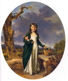 Petite fille au panier de fleurs